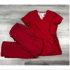 Koi XS medical scrubs uniform top pants nurse red